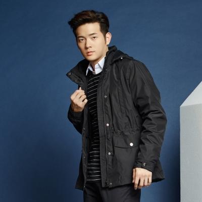 Hang-Ten-男裝-Thermocontro系列連帽風衣外套-黑