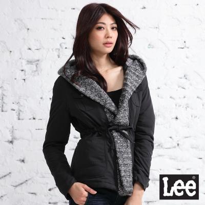 Lee-外套-連帽大V領毛衣接邊鋪棉-女款-灰黑