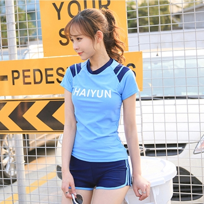 Biki比基尼妮泳衣  天韻運動泳衣有加大泳衣二件式泳衣(藍M-4XL)