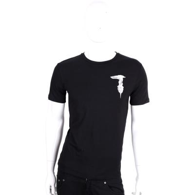 TRUSSARDI-JEANS 黑色品牌字母棉質短袖T恤