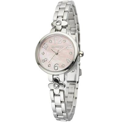 MANGO 典雅純淨不鏽鋼時尚腕錶-粉/28mm