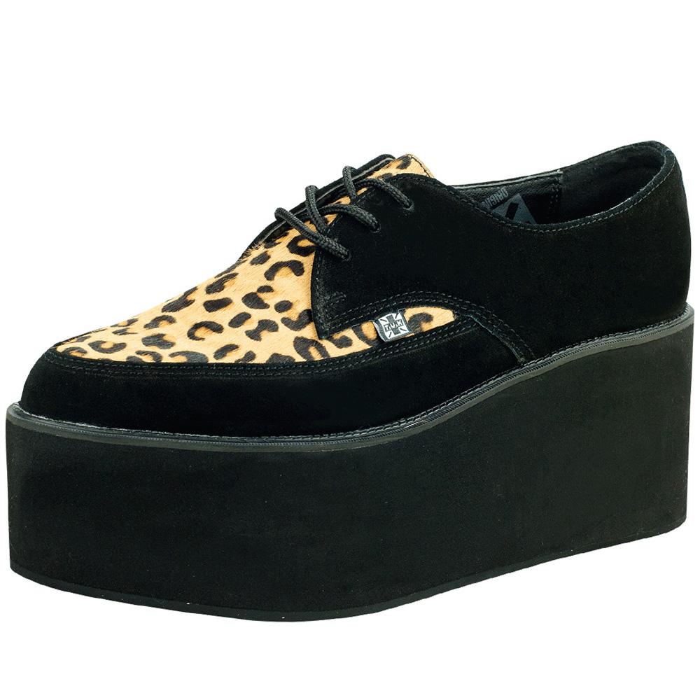 TUK豹紋尖頭厚底龐克鞋-黑