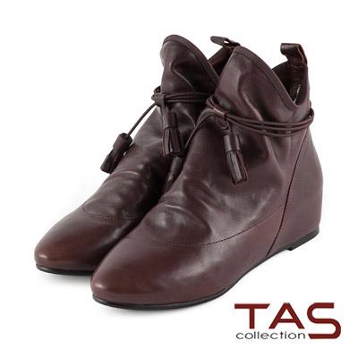 TAS-EU極品靴-鬆緊帶流蘇裝飾內增高短靴-經典