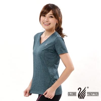 【遊遍天下】女款彈性吸排速乾V領衫GS20006藍色