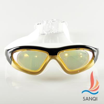 SANQI三奇 夏日必備全景抗UV防霧休閒泳鏡(910-金黃F)