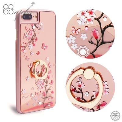 apbs iPhone8/7/6s/6 Plus 5.5吋施華彩鑽鏡面指環扣手機殼-日本櫻
