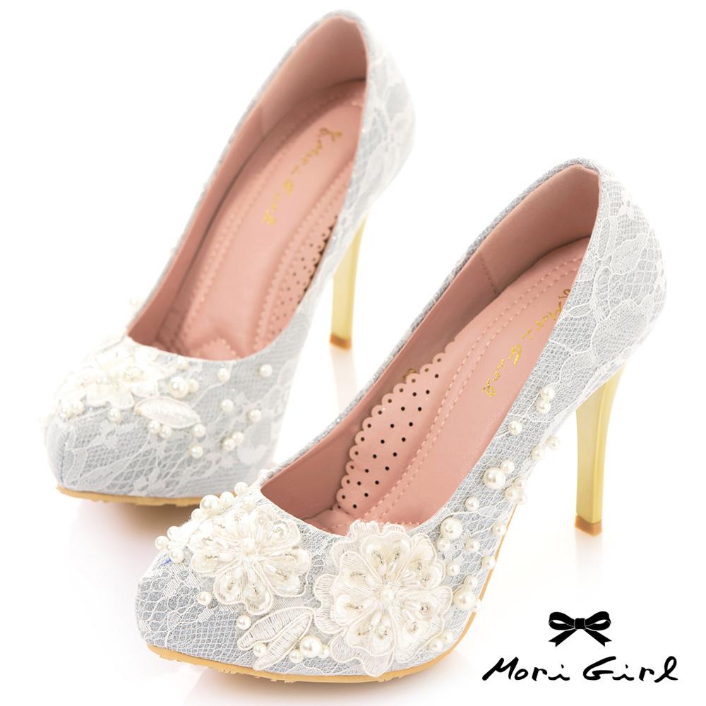 Mori girl蕾絲花珍珠手工縫製高跟婚鞋 銀白