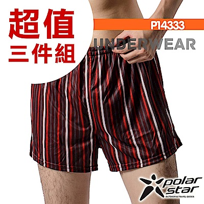 PolarStar 男 格紋排汗四角內褲 (寬鬆版型)『黑紅』(三入) P14333