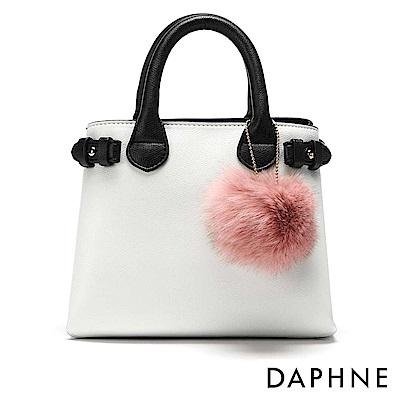 達芙妮DAPHNE-毛球吊飾撞色手提斜背小方包-白
