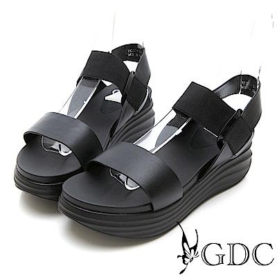 GDC-真皮百搭簡約彈力厚底涼鞋-黑色