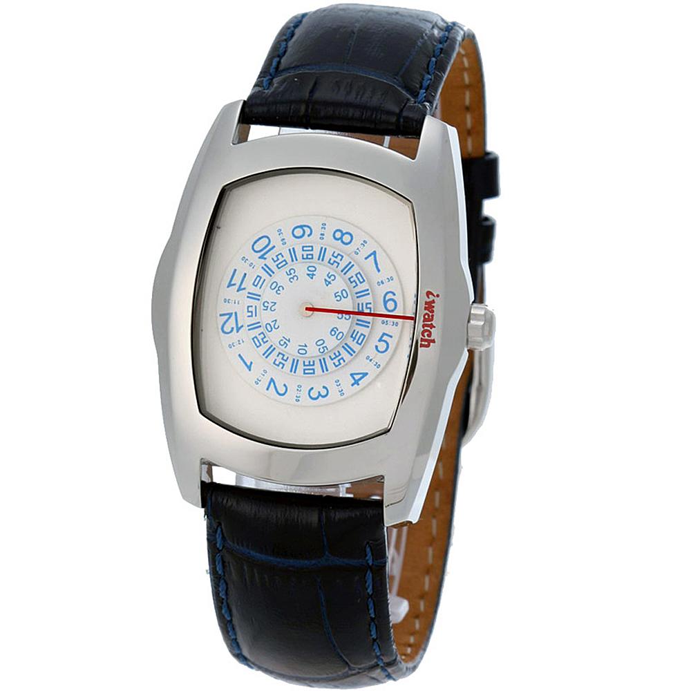 iwatch 型男索女正點個性磅秤錶-藍白/43mm