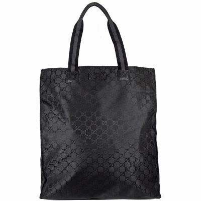 GUCCI GG LOGO提花直式購物包(黑)