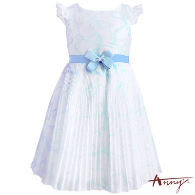 Annys夢幻水波紋方領緞紗蝴蝶結百褶洋裝*7116水藍