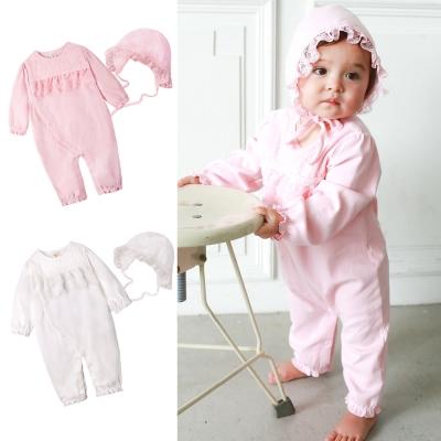 baby童衣 嬰兒連身包屁衣 純棉長袖蕾絲睡袋+嬰兒帽 50785