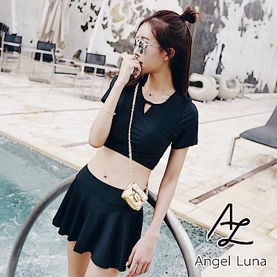 【AngelLuna日本泳裝】黑色簍空美背短袖兩件式泳衣