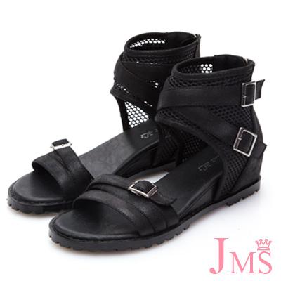JMS-韓版網紋交叉環裸內增高羅馬涼鞋-黑色