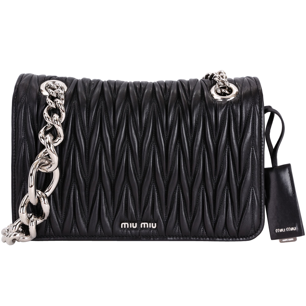 miu miu Matelasse 絎縫Nappa羊皮鍊帶晚宴包(附吊飾/黑色)