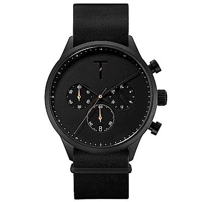 TYLOR 質感三眼計時皮革手錶-黑/41mm