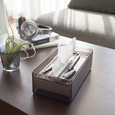【YAMAZAKI】LUXS晶透收納面紙盒-黑★衛浴收納/居家收納/衛生紙