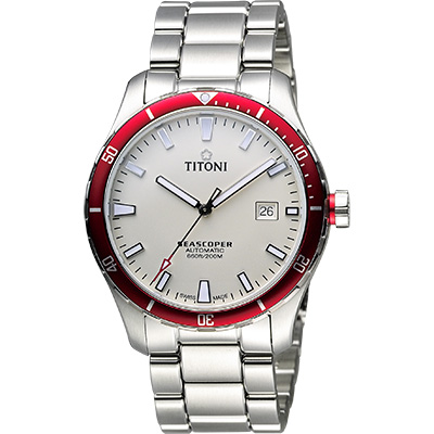 TITONI SEASCOPER海洋探索系列潛水機械錶-米白x紅圈/41mm