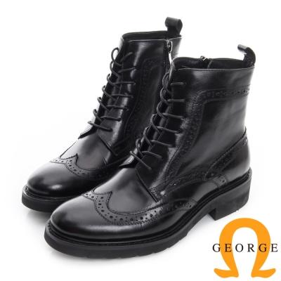 GEORGE 喬治-復古英倫風牛津雕花繫帶短靴-黑色