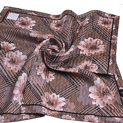 DAKS 棉絲混紡品牌大斜格復古紋字母LOGO花朵帕領巾(大/灰系)