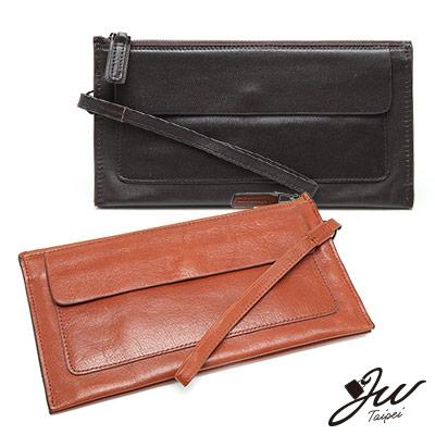 J-W-尊貴質感牛皮萬用手拿包-共3色-黑-咖-咖