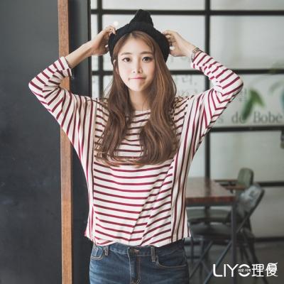 LIYO理優經典條紋圓領長袖上衣(暗紅色)