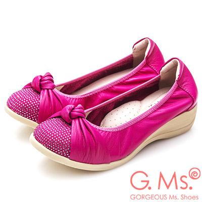 G.Ms. 牛皮燙鑽扭結坡跟鞋-桃紅