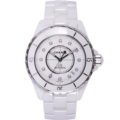 CHANEL 香奈兒 H1629 12顆鑽陶瓷機械錶-白/38mm
