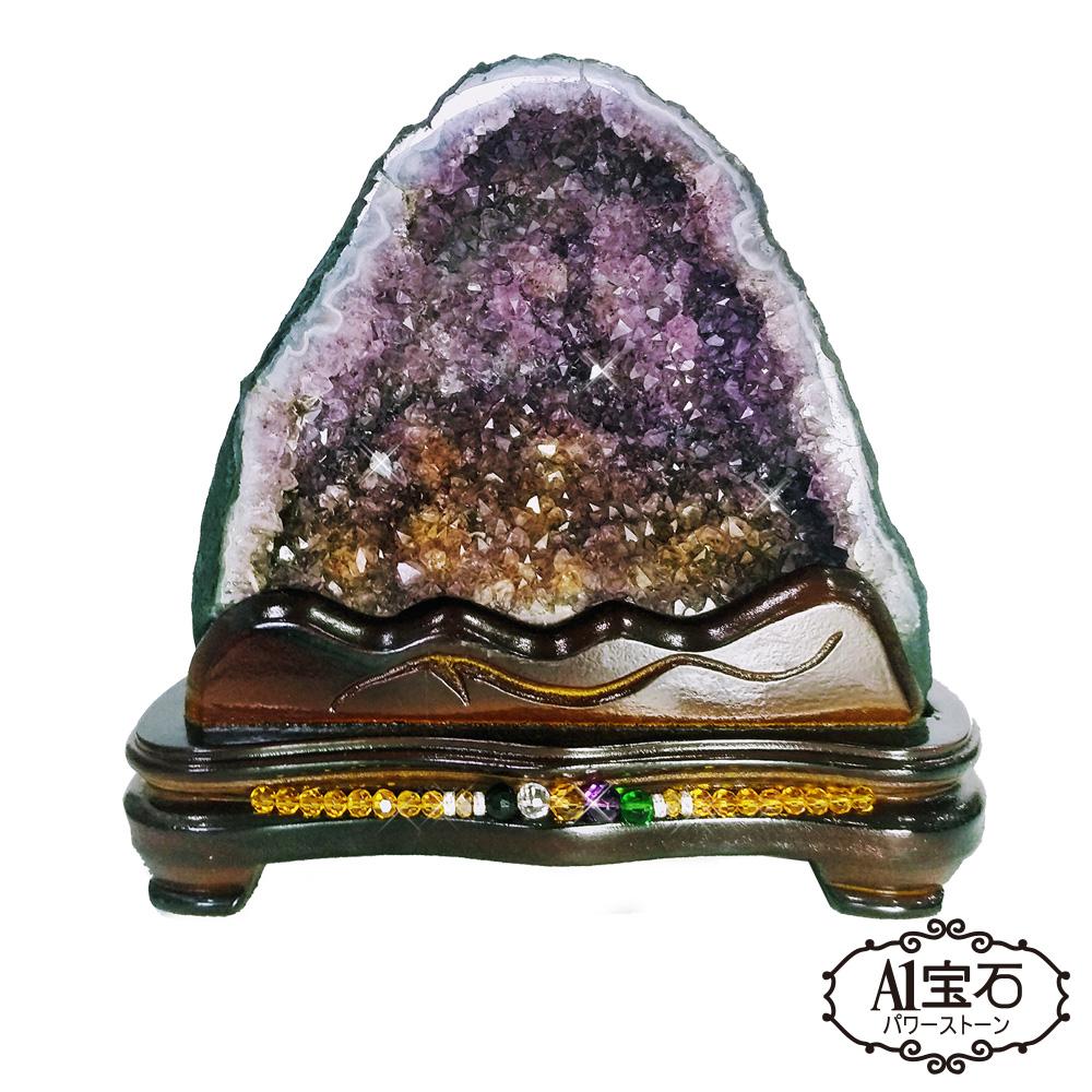 A1寶石收藏級-稀有滿絲鈦金共生頂級巴西5A級天然紫晶洞4kg贈開運三寶
