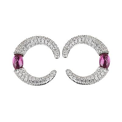 apm MONACO BONBON系列晶鑽鑲飾納米鋯石環形設計純銀耳環(紫紅)