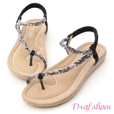 D+AF 花漾夏氛.麻辮花布斜編織平底涼鞋*黑