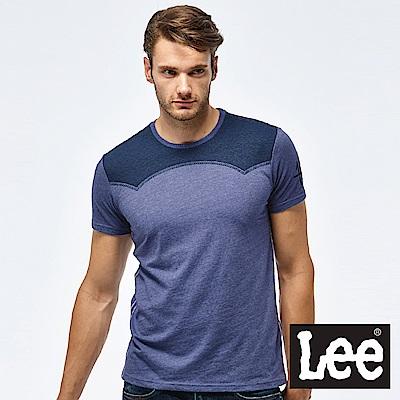 Lee 西部牛仔短袖圓領TEE-男款-藏藍色