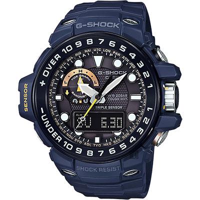 CASIO卡西歐 G-SHOCK MASTER 海軍蛙人太陽能電波手錶-藍/55.8mm
