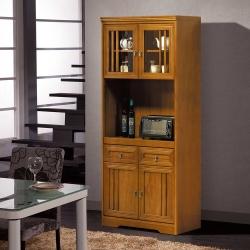 凱曼 夏琳2.7尺實木收納高餐櫃
