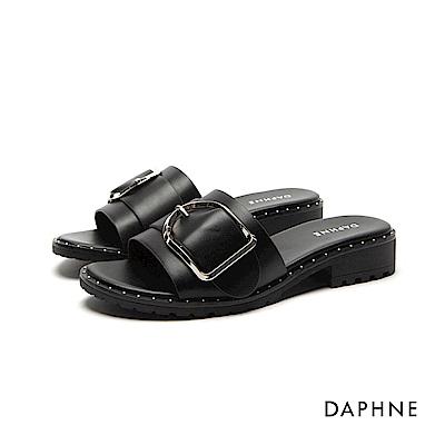 達芙妮DAPHNE 拖鞋-珠釘飾邊一字粗跟拖鞋-黑
