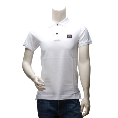 PAUL & SHARK 經典LOGO網眼純棉素色立領短袖POLO衫(白)