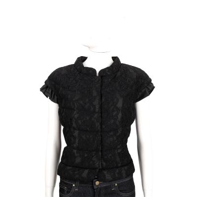 BOSIDENG 黑色蕾絲拼接短袖鋪棉外套