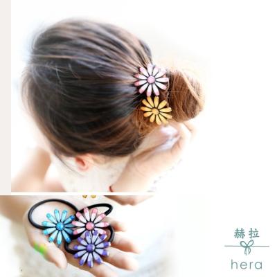 Hera 赫拉 復古烤漆雙色雛菊髮圈/髮束-5色