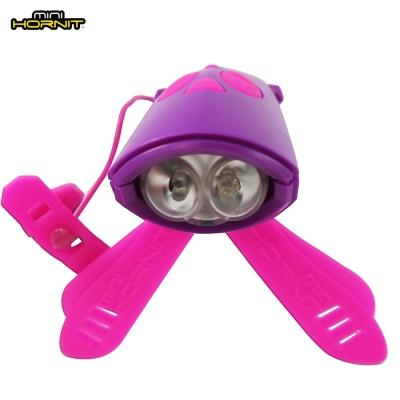 英國MINI HORNIT 蜜蜂燈鈴鐺-自行車滑板車嬰兒推車用LED車前燈+電子喇叭-紫粉