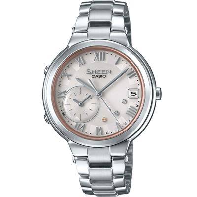 SHEEN 羅馬時刻優雅智慧藍芽傳輸太陽能日曆腕錶(SHB-200AD-4)銀框/35mm