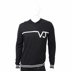 VERSACE 白色品牌字樣設計黑色針織羊毛衫