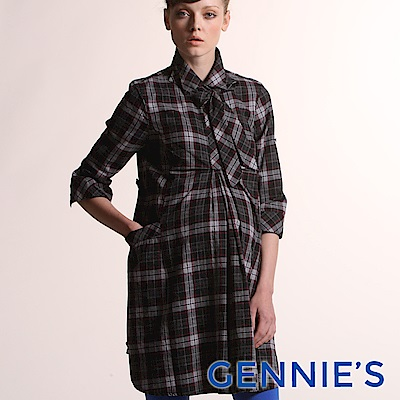 Gennies- 010 系列-歐美格紋時尚孕婦洋裝(T 1403 )