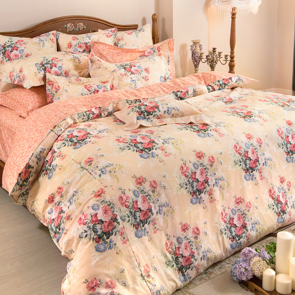 義大利La Belle 古典花韻 加大純棉床包枕套組