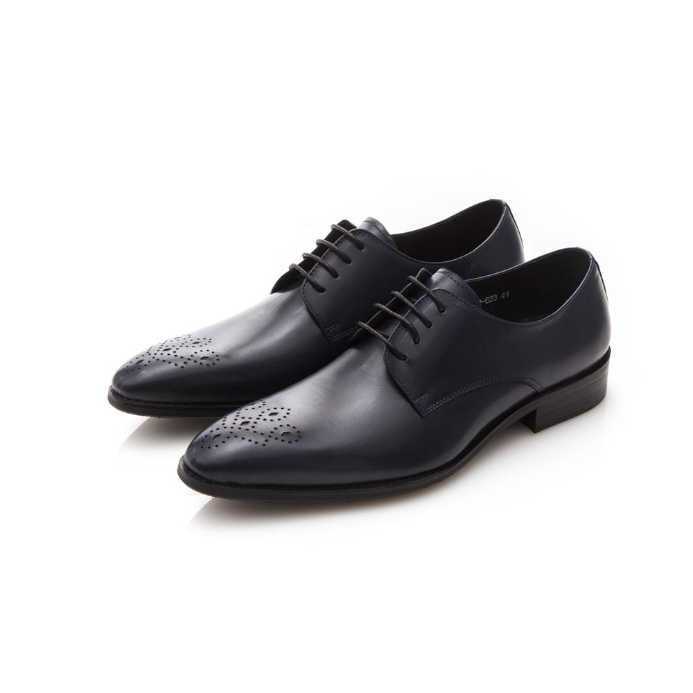 ALLEGREZZA真皮男鞋-時尚型男-藝紋雕花尖頭綁帶牛鞋皮鞋藍色