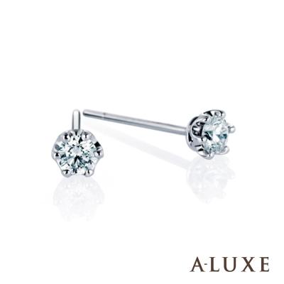 A-LUXE 亞立詩 18K金 總重 0.25克拉 六爪鑲 單顆美鑽耳環