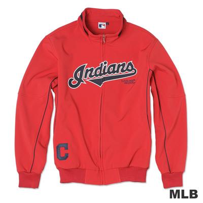MLB-克里夫蘭印地安人隊淺水布棒球外套-紅(男)