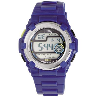 FEMA 實用多功能 計時鬧鈴 數位休閒錶(P355)-藍/34mm