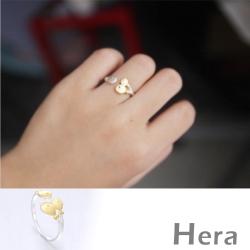 Hera 赫拉 925純銀鍍金雙色Q版小魚可調式戒指/開口戒/尾戒(銀色)